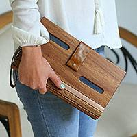 Wood clutch, 'City Savvy in Blue' - Wood and Blue Leather Accent Clutch with Detachable Strap