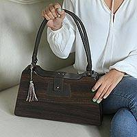 Wood handbag, 'Mod Mid-Century in Dark Brown' - Dark Brown Wood Trapezoid Mid-Century Modern Handbag