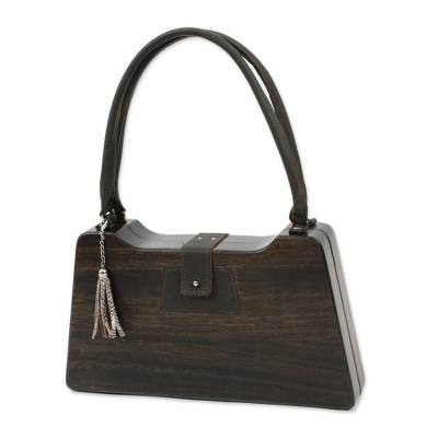 Dark Brown Wood Trapezoid Mid-Century Modern Handbag