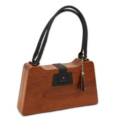Light Brown Wood Trapezoid Mid-Century Modern Handbag