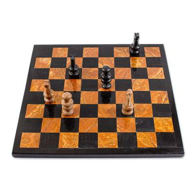 Brown and Black Marble Chess Set Crafted in Mexico