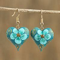 Wood dangle earrings, 'Fantasy Flowers in Mint' - Hand-Painted Floral Wood Dangle Earrings in Mint from Mexico