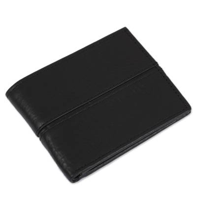 Handmade Leather Wallet in Black from Mexico