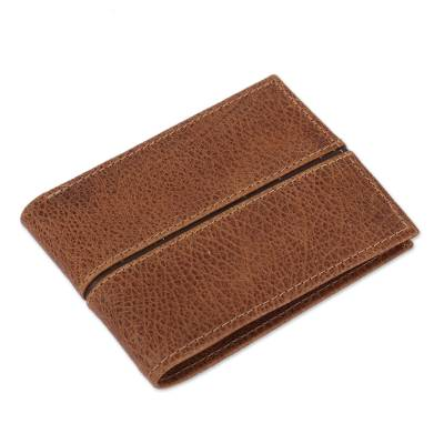 Handmade Leather Wallet in Brown from Mexico