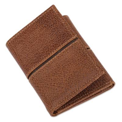Artisan Crafted Leather Wallet in Brown from Mexico