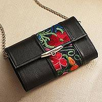 Cotton accented leather baguette, 'Mexican Enchantment' - Floral Cotton Accent Leather Baguette from Mexico