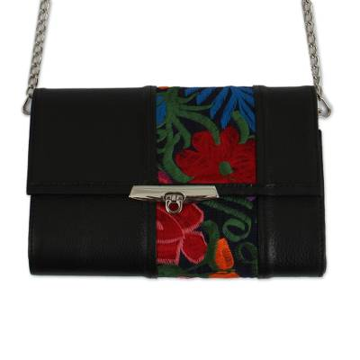 Floral Cotton Accent Leather Baguette from Mexico