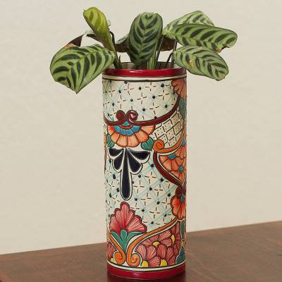 Ceramic vase, 'Mexico Colors' - Handcrafted Floral Talavera-Style Ceramic Vase from Mexico
