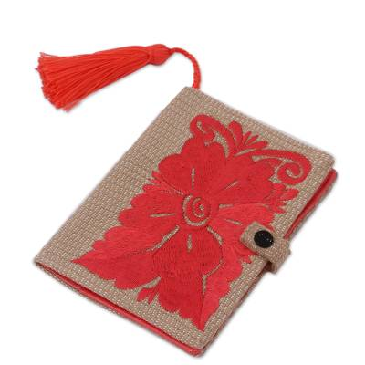Floral Embroidered Cotton Passport Wallet in Deep Rose