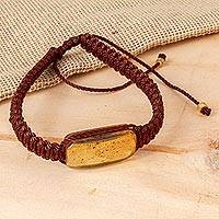 Amber pendant bracelet, 'Ancient Desire in Brown' (Mexico)