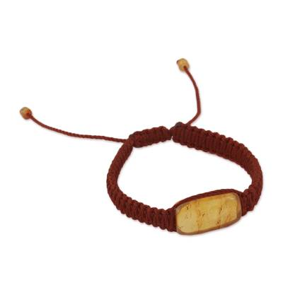Amber pendant bracelet, 'Ancient Desire in Brown' - Amber Pendant Bracelet in Brown from Mexico