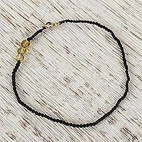 Gold accented amber beaded macrame bracelet, 'Ancient Seafarer in Black' (Me..