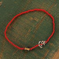 Gold accented amber macrame pendant bracelet, 'Nautical Style' (Mexico)