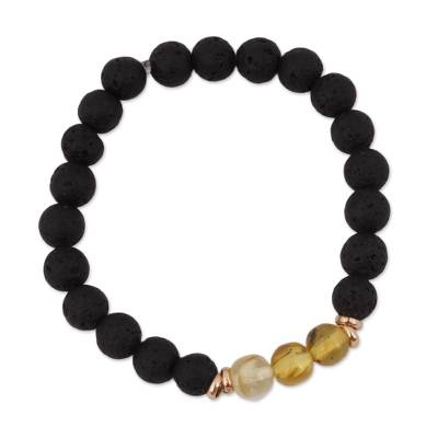 Gold Accented Amber and Lava Stone Stretch Bracelet