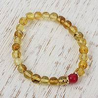 Gold accented amber and agate beaded stretch bracelet, 'Ancient Afternoon' - Gold Accented Amber and Agate Beaded Stretch Bracelet