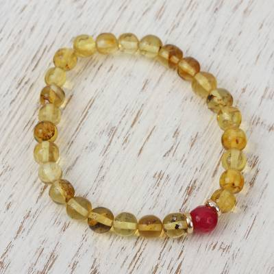 Gold accented amber and agate beaded stretch bracelet, Ancient Afternoon