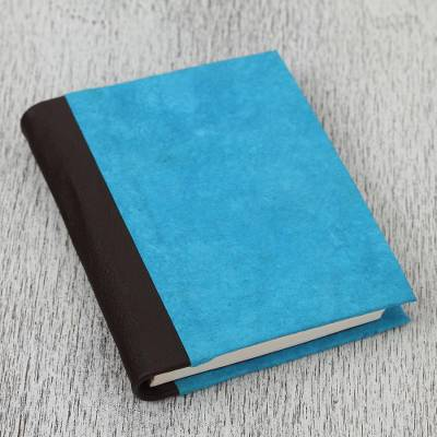 Leather accent recycled paper journal, 'Sky Memories' - Leather Accent Recycled Paper Journal in Blue from Mexico