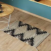 Zapotec wool area rug, 'River Stones' (2x3) - Handwoven Geometric Wool Area Rug from Mexico (2x3)