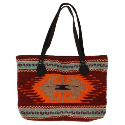Greca Motif Leather Accented Wool Tote from Mexico