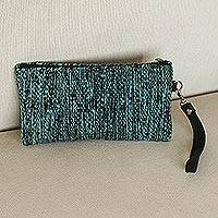 Leather accented wool wristlet, 'Deep Ocean' - Leather Accented Wool Wristlet in Navy and Aqua