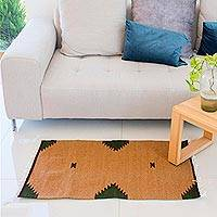 Wool area rug, 'Diamonds and Spice' (2x3) - Wool Area Rug in Tan and Green from Mexico (2x3)