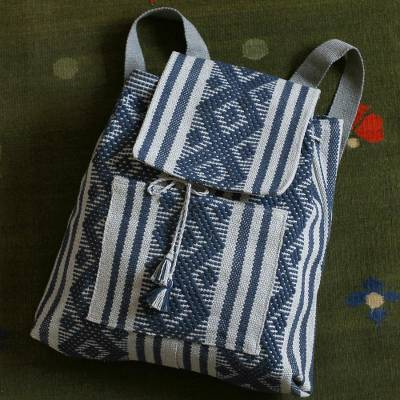 Cotton backpack, 'Ancient Path' - Handwoven Cotton Backpack in Indigo and Grey from Mexico