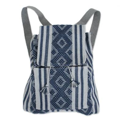 Handwoven Cotton Backpack in Indigo and Grey from Mexico