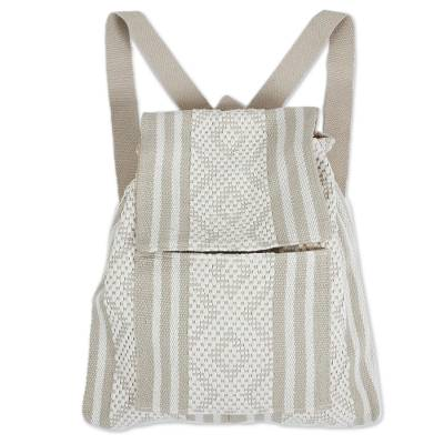 Cotton Backpack in Eggshell and Light Taupe from Mexico