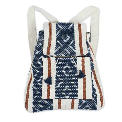 Cotton Backpack with Midnight Geometric Patterns from Mexico