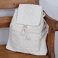 Cotton backpack, 'Pure Traveler' - Handwoven Cotton Backpack in Bone from Mexico