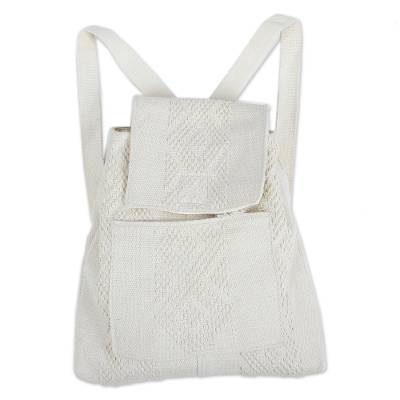 Handwoven Cotton Backpack in Bone from Mexico