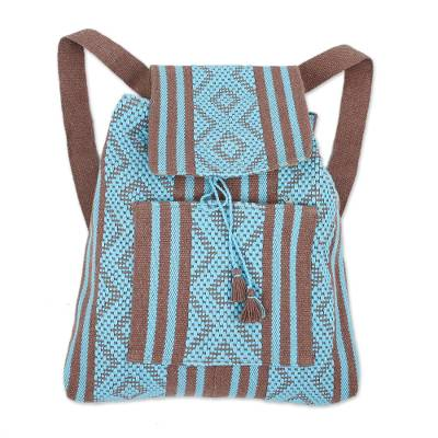 Handwoven Cotton Backpack in Sky Blue and Nutmeg from Mexico