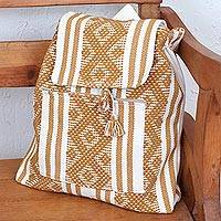 Cotton backpack, 'Times of Old in Tan' - Handwoven Cotton Backpack in Tan and Bone from Mexico
