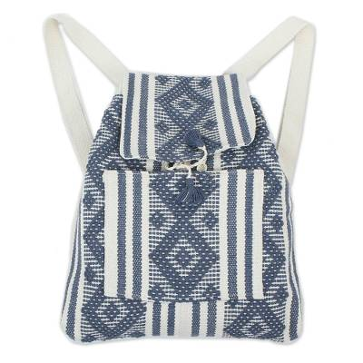 Handwoven Cotton Backpack in Cadet Blue and Bone from Mexico