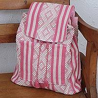 Cotton backpack, 'Cerise Enchantment' - Handwoven Cotton Backpack in Cerise and White from Mexico