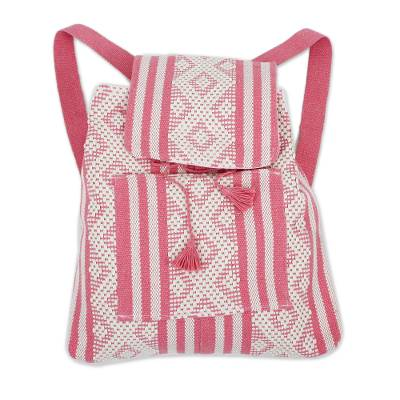 Handwoven Cotton Backpack in Cerise and White from Mexico