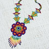 Glass beaded statement necklace, 'Huichol Bloom' - Floral Glass Beaded Statement Necklace from Mexico