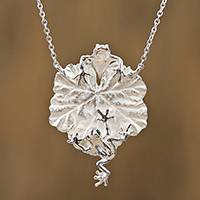 Sterling silver pendant necklace, 'Frogs on a Leaf' - Sterling Silver Frog and Leaf Pendant Necklace from Mexico