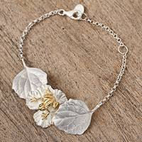 Gold accented sterling silver pendant bracelet, 'Frog on a Leaf' - Gold Accented Sterling Silver Frog Bracelet from Mexico
