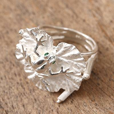 Sterling silver cocktail ring, 'Frog on a Leaf' - Sterling Silver Frog and Leaf Cocktail Ring from Mexico