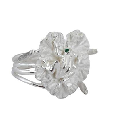 Sterling Silver Frog and Leaf Cocktail Ring from Mexico
