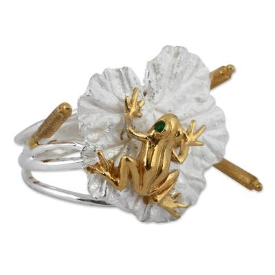 Gold Accented Sterling Silver Frog Cocktail Ring from Mexico