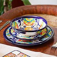 Ceramic bowls, 'Raining Flowers' (pair) - Hand-Painted Talavera Ceramic Bowls from Mexico (Pair)
