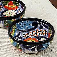 Ceramic condiment bowls, 'Raining Flowers' (pair) - Talavera Ceramic Condiment Bowls from Mexico (Pair)