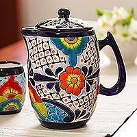Ceramic coffee pot, 'Raining Flowers' - Hand-Painted Talavera Style Ceramic Coffee Pot from Mexico