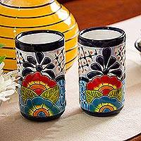 Ceramic tumblers, 'Raining Flowers' (pair) - Hand-Painted Floral Ceramic Tumblers from Mexico (Pair)