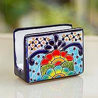 Ceramic napkin holder, 'Raining Flowers' - Hand-Painted Talavera Ceramic Napkin Holder from Mexico