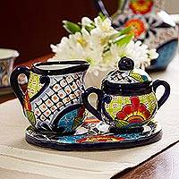 Ceramic creamer and sugar bowl set, 'Raining Flowers' (3 pieces) - Talavera Ceramic Creamer and Sugar Bowl Set (3 Pieces)