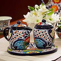 Ceramic creamer and sugar bowl set, 'Raining Flowers (5 piece) - Ceramic Creamer and Sugar Bowl Set from Mexico (5 Piece)