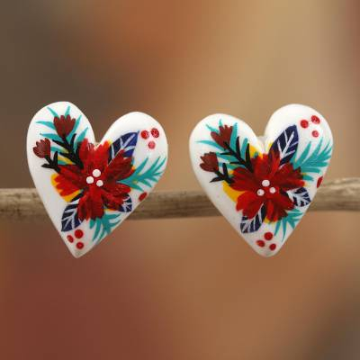 Porcelain button earrings, 'Passion of the Heart' - Heart-Shaped Floral Porcelain Button Earrings from Mexico
